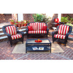 4 Pc Palm Springs Resin Wicker Set with 2 Chairs - BLACK