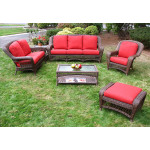 6-Piece Palm Springs Collection with Cushions - ANTIQUE BROWN