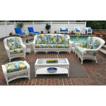 6 Piece Palm Springs Resin Wicker Furniture Set. Sofa, Love Seat, Chair, Ottoman, Cocktail & End Table - WHITE
