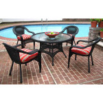 48 Round Resin Dining Set with 4-Cushioned Dining Chairs - BLACK