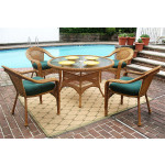 48 Round Resin Dining Set with 4-Cushioned Dining Chairs - GOLDEN HONEY