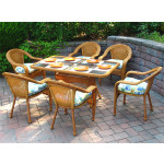 60x36 Rectangular Dining Set With 6-Cushioned Dining Chairs - GOLDEN HONEY