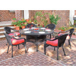 60 Round Resin Dining Set with 6-Cushioned Dining Chairs - BLACK