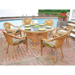 60 Round Resin Dining Set with 6-Cushioned Dining Chairs - GOLDEN HONEY
