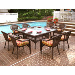 66 Square Resin Dining Set With 8-Cushioned Dining Chairs - ANTIQUE BROWN