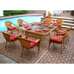 66 Square Resin Dining Set With 8-Cushioned Dining Chairs - GOLDEN HONEY
