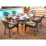 72 Oval Resin Dining Set with 6-Cushioned Dining Chairs - ANTIQUE BROWN