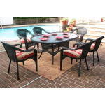 72 Oval Resin Dining Set with 6-Cushioned Dining Chairs - BLACK