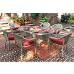 72 Oval Resin Dining Set with 6-Cushioned Dining Chairs - DRIFTWOOD