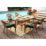 72 Oval Resin Dining Set with 6-Cushioned Dining Chairs - GOLDEN HONEY