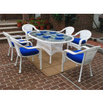 72 Oval Resin Dining Set with 6-Cushioned Dining Chairs - WHITE