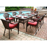 "Resin Wicker Dining Set 96"" Rectangular - ANTIQUE BROWN"
