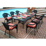 96x42 Rectangular Set With 8-Cushioned Dining Chairs - BLACK