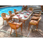96x42 Rectangular Set With 8-Cushioned Dining Chairs - GOLDEN HONEY