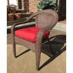 Resin Wicker Dining Chair With Cushion - ANTIQUE BROWN-SP-3613