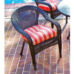 Resin Wicker Dining Chair With Cushion - BLACK