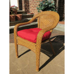 Resin Wicker Dining Chair With Cushion - GOLDEN HONEY-SP-3613