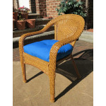 Resin Wicker Dining Chair With Cushion - GOLDEN HONEY