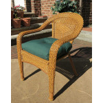 Resin Wicker Dining Chair With Cushion - GOLDEN HONEY-SP-800