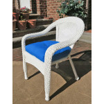 Resin Wicker Dining Chair With Cushion - WHITE