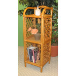 Pole Rattan Slim & Tall 3-Tier Wicker Floor Shelf - CARAMEL