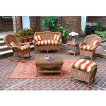 (4) Pc Naples Wicker Set with 2 Chairs & Cushions - TEAWASH