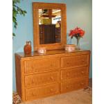 Traditional 6 Drawer Wicker Bedroom Dresser - CARAMEL