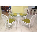 Savannah 5-Piece 42 Rattan Dining Set with Glass Top - WHITE