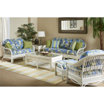 (6) Piece Bermuda Rattan Sofa Group - WHITEWASH