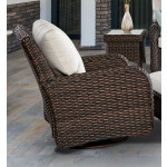 St Croix All Weather Outdoor Resin Wicker Swivel Glider Chair - TOBACCO