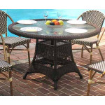 "Resin Wicker Dining Table 48"" Round - ANTIQUE BROWN"