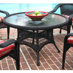 "Resin Wicker Dining Table 48"" Round - BLACK"