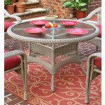 "Resin Wicker Dining Table 48"" Round - DRIFTWOOD"