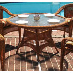 "Resin Wicker Dining Table 48"" Round - GOLDEN HONEY"