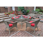 "Veranda Resin Wicker Dining Set 48"" Round - DRIFTWOOD"
