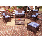 4-Pc Veranda Resin Wicker Set with Cushions - ANTIQUE BROWN