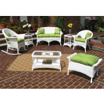 4-Pc Veranda Resin Wicker Set with Cushions - WHITE