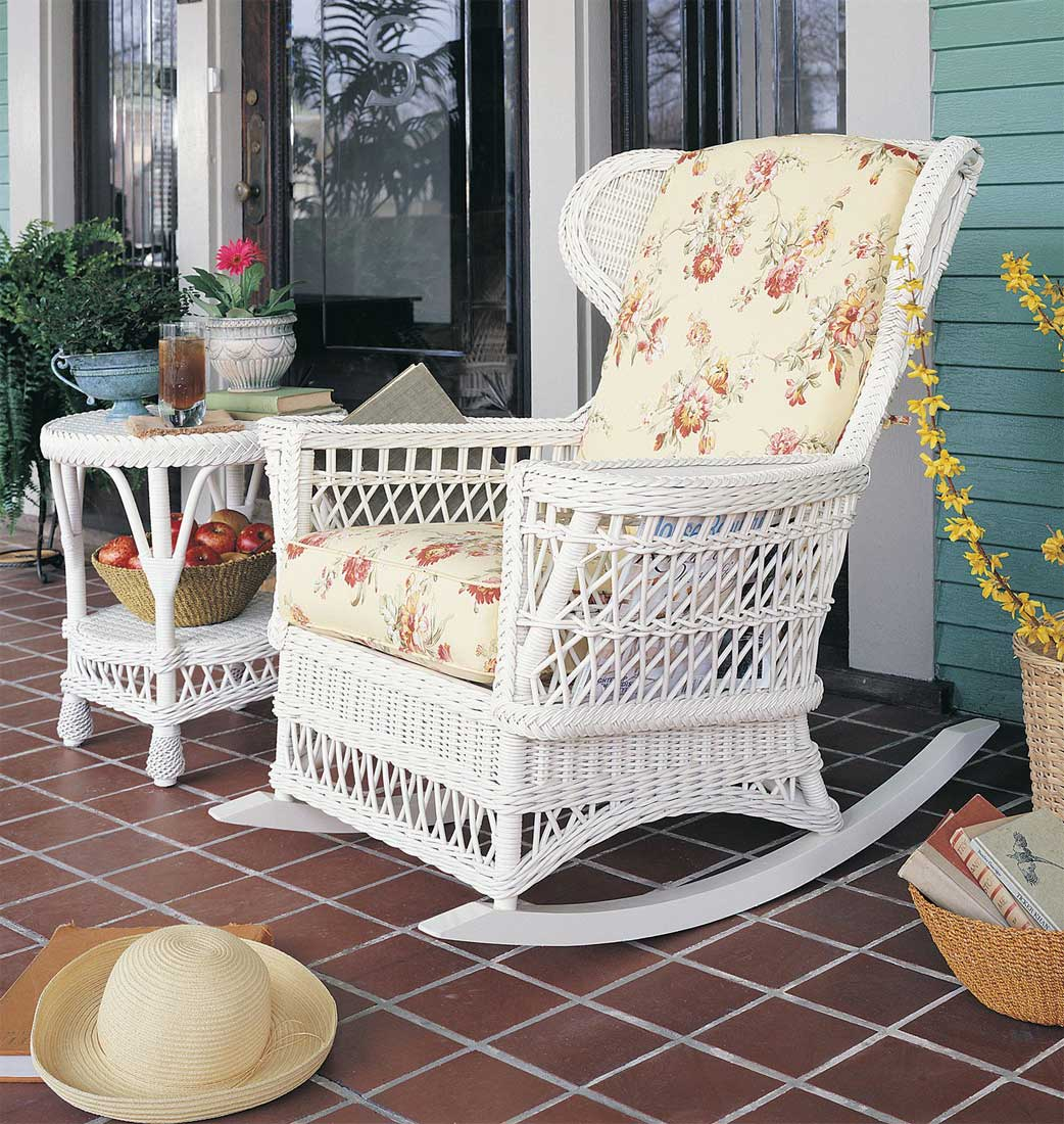 Vintage Natural Wicker Rocking Chair