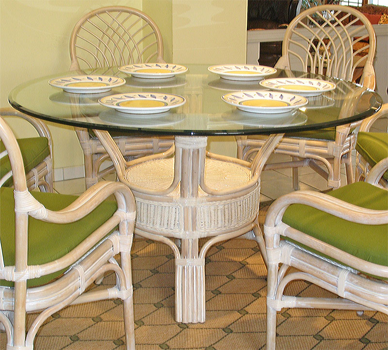 Pole Rattan 54 Round Dining Table With Glass Top