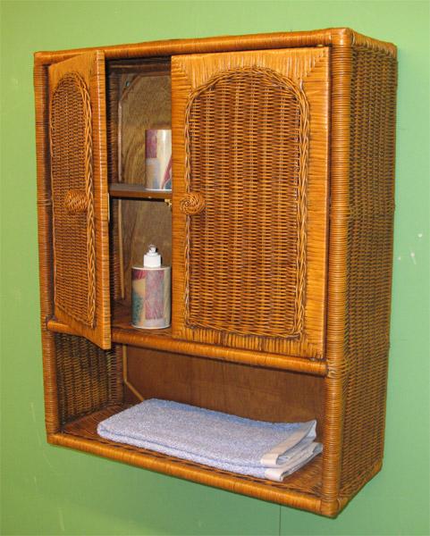 Medicine Chest Wicker Wall Cabinet