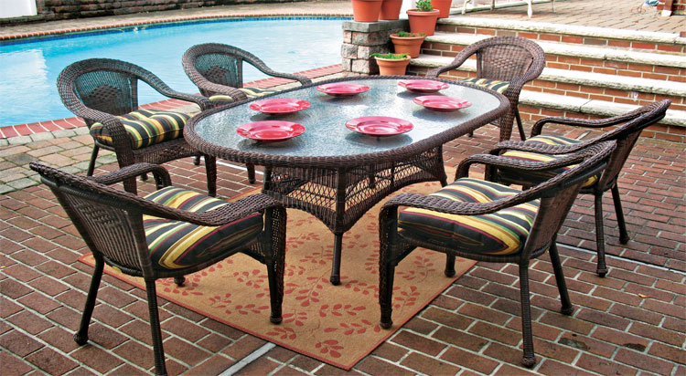 "Antique Brown Aluminum Framed Resin  72"" Oval Dining Set"