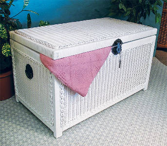 Large White Wicker Woodlined Trunk