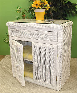 White 2 Door Wicker ALL Purpose Cabinet
