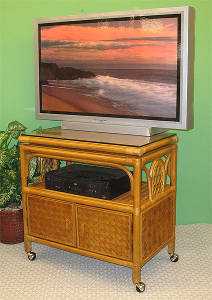 Caramel Venetian Swivel Wicker TV Stand