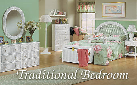 White Traditional Wicker Bedroom Furniture