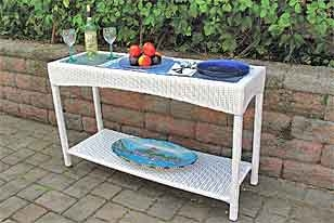 White Caribbean Wicker Patio Furniture Sectional · White Caribbean Serving  Console Table