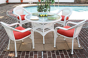 "White 5 Piece 48"" Dining Set"
